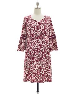 Crochet Sleeve Yummy Dress - Burgundy