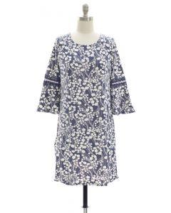 Crochet Sleeve Yummy Dress - Blue