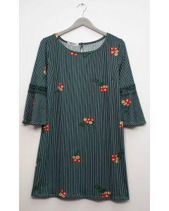Plus Crochet Sleeve Layered Floral Midi Dress - Hunter Green