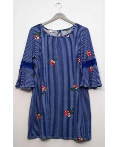 Plus Crochet Sleeve Layered Floral Midi Dress - Royal Blue