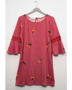 Plus Crochet Sleeve Layered Floral Midi Dress - Rust