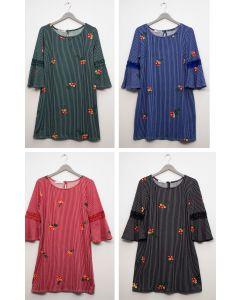 Plus Crochet Sleeve Layered Floral Midi Dress - Assorted