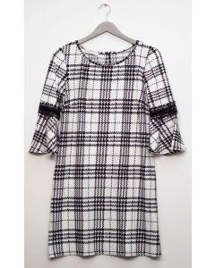 Plus Crochet Sleeve Plaid Midi Dress - White