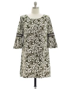 Plus Crochet Sleeve Yummy Dress - Olive