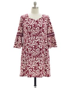 Plus Crochet Sleeve Yummy Dress - Burgundy