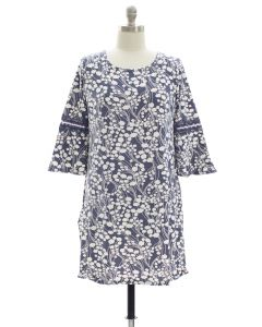 Plus Crochet Sleeve Yummy Dress - Blue