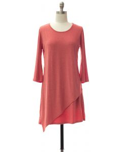 Panel Front Knit Dress - Coral