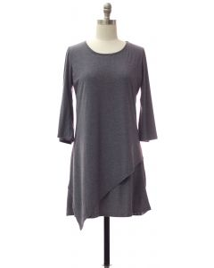Panel Front Knit Dress - Grey Blue