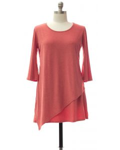 Plus Panel Front Knit Dress - Coral