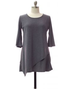 Plus Panel Front Knit Dress - Grey Blue