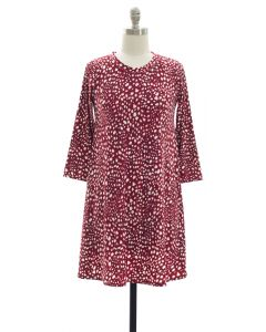 Yummy Printed Shift Dress - Red