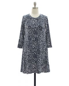 Yummy Printed Shift Dress - Navy
