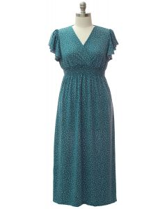Plus Flutter Sleeve Maxi - Teal