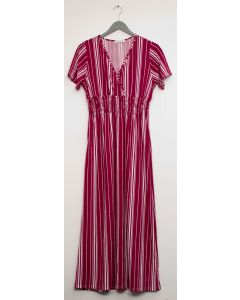 Stripe Short Sleeve Surplice Maxi - Wine