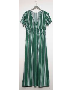 Stripe Short Sleeve Surplice Maxi - Hunter Green