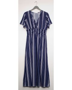 Stripe Short Sleeve Surplice Maxi - Navy
