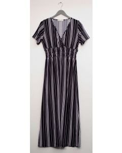 Stripe Short Sleeve Surplice Maxi - Black