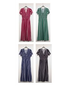 Stripe Short Sleeve Surplice Maxi - Assorted
