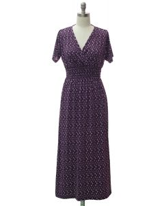 Short Sleeve Maxi Dress - Purple