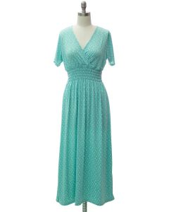Short Sleeve Maxi Dress - Turquoise