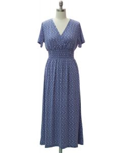Short Sleeve Maxi Dress - Caded Blue