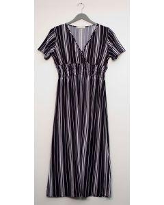 Plus Stripe Short Sleeve Surplus Maxi - Black