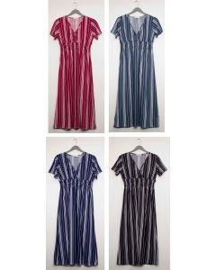 Plus Stripe Short Sleeve Surplus Maxi - Assorted
