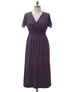 Plus Short Sleeve Maxi Dress - Purple