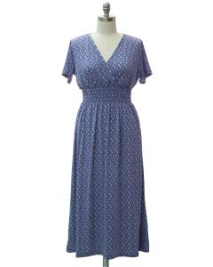 Plus Short Sleeve Maxi Dress - Cadet Blue