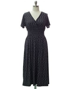 Plus Short Sleeve Maxi Dress - Black