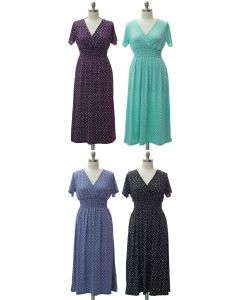 Plus Short Sleeve Maxi Dress - Assorted