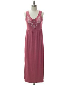 Embroider Yoke Maxi Dress - Mauve