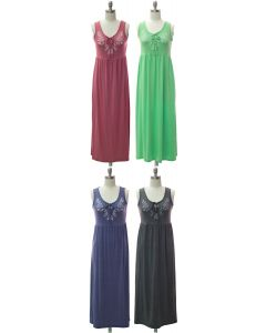 Embroider Yoke Maxi Dress - Assorted