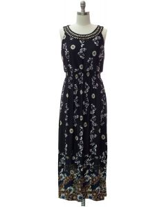 Jewel Neckline Maxi Dress - Black