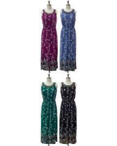 Jewel Neckline Maxi Dress - Assorted
