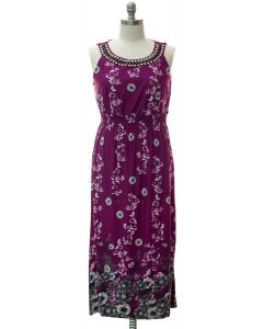 Jewel Neckline Maxi Dress - Purple