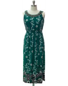 Jewel Neckline Maxi Dress - Green