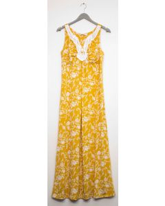 Crochet Yoke Maxi Dress - Mustard