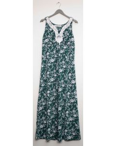 Crochet Yoke Maxi Dress - Hunter Green
