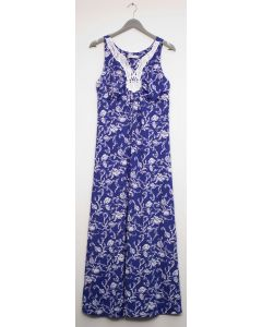 Crochet Yoke Maxi Dress - Blue
