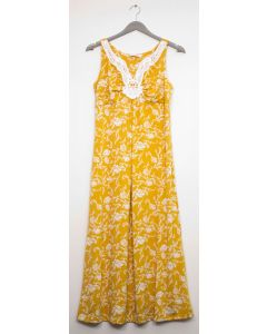 Plus Crochet Yoke Maxi Dress - Yellow