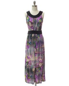 Abstract Pleat Front Maxi Dress - Purple