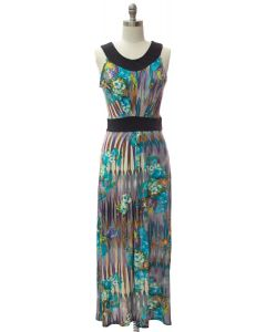 Abstract Pleat Front Maxi Dress - Turquoise