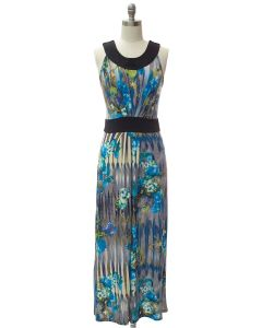 Abstract Pleat Front Maxi Dress - Blue