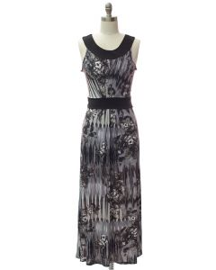 Abstract Pleat Front Maxi Dress - Black