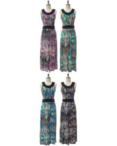 Abstract Pleat Front Maxi Dress - Assorted