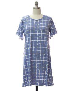 Plus Butterfly Sleeve Pane Dress - Light Blue