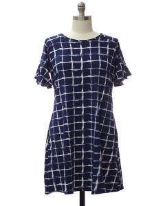 Plus Butterfly Sleeve Pane Dress - Midnight Blue