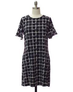 Plus Butterfly Sleeve Pane Dress - Black