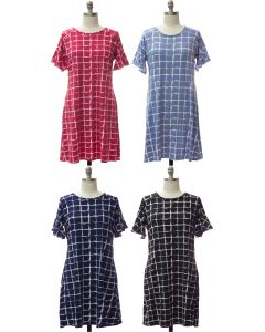 Plus Butterfly Sleeve Pane Dress - Assorted